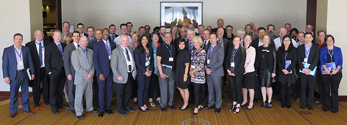 This is an image of SIU Director Tony Loparco and SIU Communications Coordinator Monica Hudon among other participants at the 2017 Canadian Association for Civilian Oversight of Law Enforcement conference