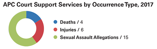 This doughnut demonstrates the amount of APC court support services provided by occurrence type in 2017. 4 of these services were for deaths, 6 were for injuries, and 15 were for sexual assault allegations.
