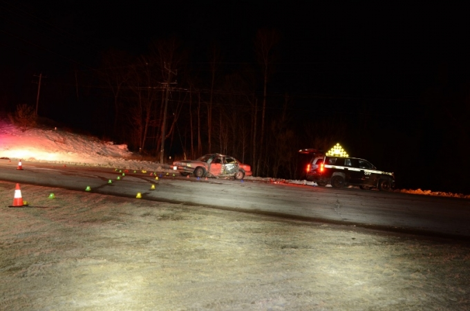 The collision occurred in the intersection of Highway 17 and Trout Pond Road near the Community of Rutherglen, in the Township of Bonfield. This is a photo of the collision scene.