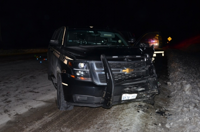 Photo of police vehicle involved in collision.