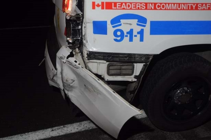 Damage to WO #3's police vehicle as a result of being rammed by the GMC.