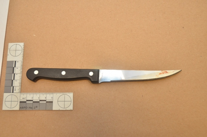 Photo of blood stained knife from scene