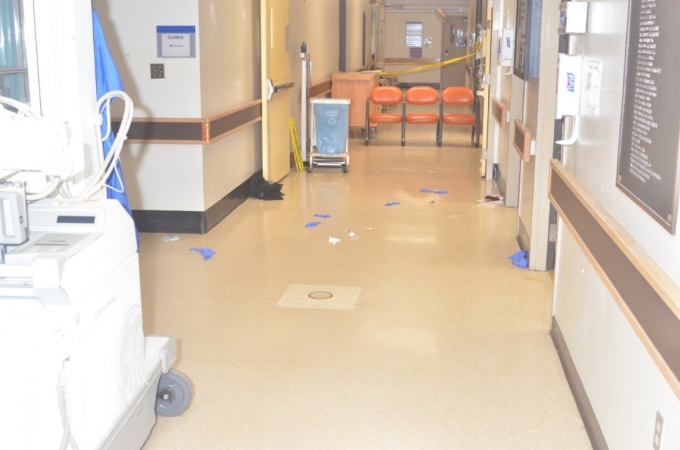 The hallway in DMH's Urgent Care Centre where the incident occurred. The hallway to the left is where the SO first saw the Complainant standing.