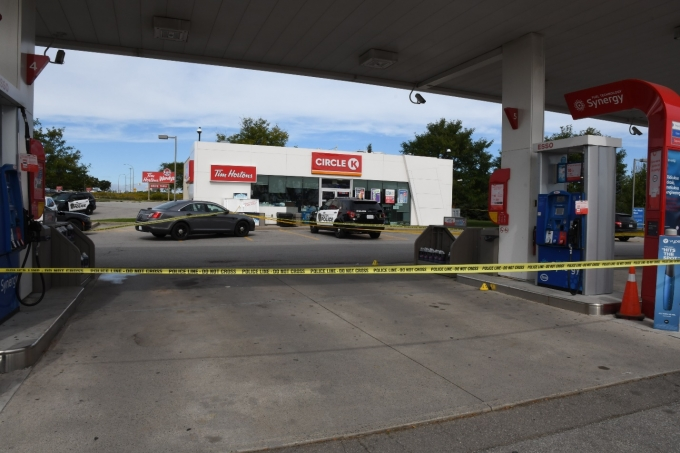 Figure 1- the Esso Gar Bar and Circle K convenience store after the shooting occurred.