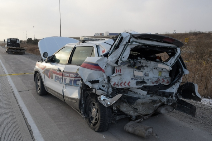 The SO's YRP Ford Explorer after it sustained severe damage as a result of being rear-ended.