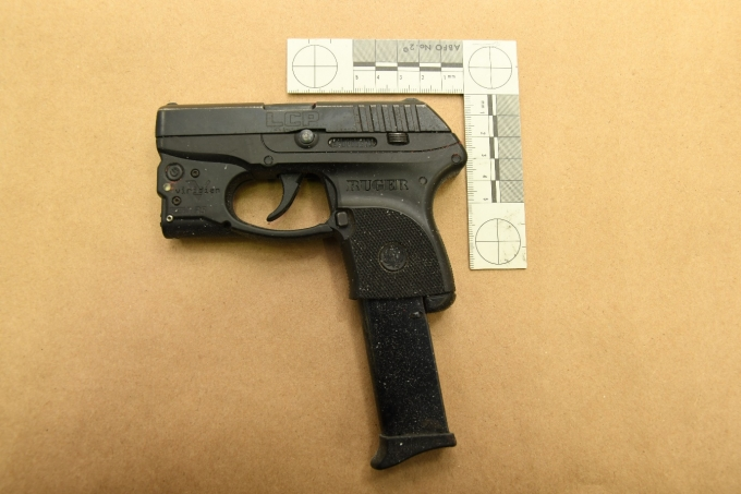The Ruger .380 semi-auto pistol which was removed from the Complainant's vehicle.