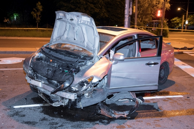 Figure 1- The Honda Civic with severe front-end damage.