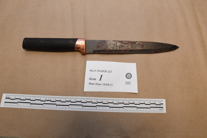 Figure 3 - The knife used by the Complainant that was recovered from the scene.